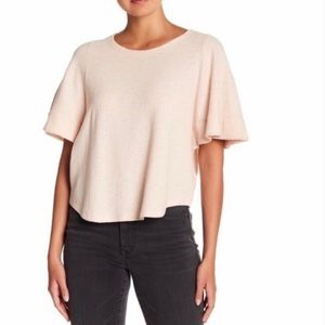 Madewell Cropped Pink Flutter Sleeve Shirt